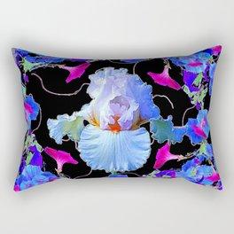 BLUE MORNING GLORIES & WHITE IRIS  SPRING  GARDEN ART Rectangular Pillow