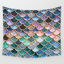 Multicolor Pink And Aqua Mermaid Scales - Beautiful Abstract Glitter Pattern Wall Tapestry