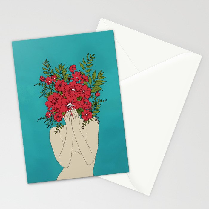 Blooming Red Stationery Cards