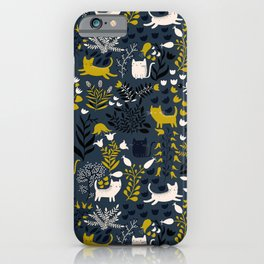 Cats and Flowers Pattern iPhone Case