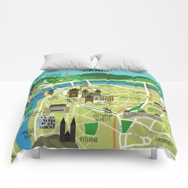 Prague map illustrated Comforters