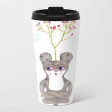 lonely cute creature with rose bush Metal Travel Mug