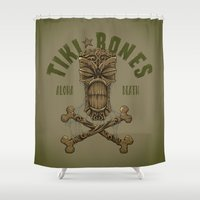 tiki Shower Curtains featuring Tiki Bones by Nano Barbero