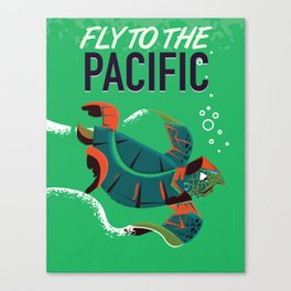 Fly to the Pacific vintage travel poster Canvas Print