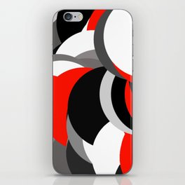 black white grey red geometric digital art iPhone Skin