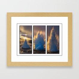 Geysir Triptych Iceland Framed Art Print