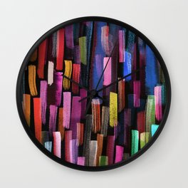 colorful brushstrokes pattern Wall Clock