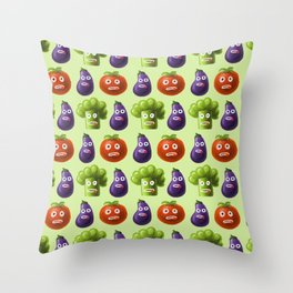 Funny Cartoon Vegetables Throw Pillow