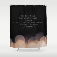 levi Shower Curtains featuring Levi Ackerman by Book Ink Boutique