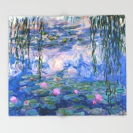 Water Lilies Monet Throw Blanket