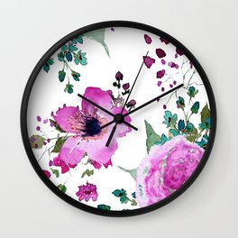 Poppies Roses Wildflowers Fushia Wall Clock