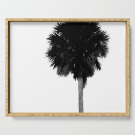 Palm Tree Black White Minimal Print Serving Tray