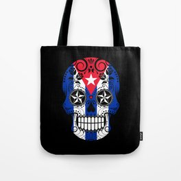 Sugar Skull with Roses and Flag of Cuba Tote Bag