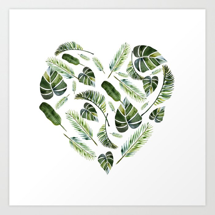 Heart Of Tropical Leaves Watercolor Leaves Palm Leaf Monstera Leaf Tropics Summer Art Print By Juka Juka Society6 Find the perfect watercolor tropical leaves stock photo. heart of tropical leaves watercolor leaves palm leaf monstera leaf tropics summer art print by juka juka