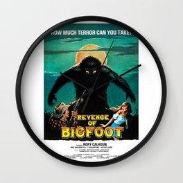 Revenge of Bigfoot, vintage horror movie poster Wall Clock