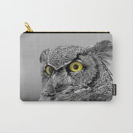 Contemporary Black & White Great Horned Owl Bird Yellow eye Art A515 Carry-All Pouch