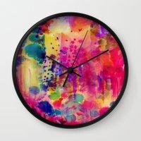 wander Wall Clocks featuring Wander by Amy Sia
