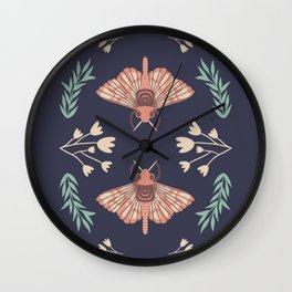 Moth and Flower Botanical Print Wall Clock