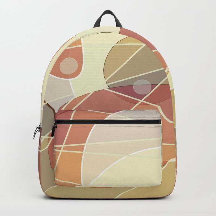 Abstract pattern in yellow and beige brown colours . Backpack