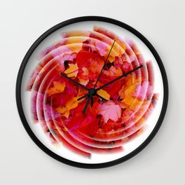 Swirling colored leaves Wall Clock