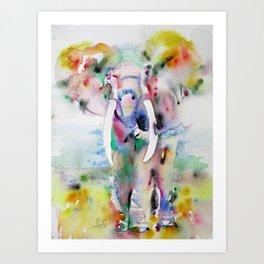 ELEPHANT - watercolor portrait.7 Art Print