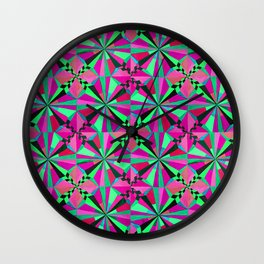 Pink and Green Symmetry Wall Clock