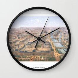 Paris art print Paris Decor office decoration vintage decor PANORAMA DU LOUVRE of Paris Wall Clock