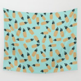 Blue Pineapple Shake Wall Tapestry