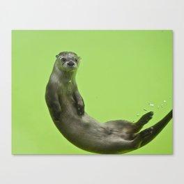 Green Otter Canvas Print