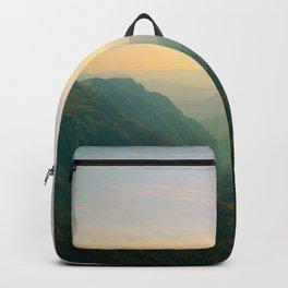 Mountain Valley Parallax Green Yellow Hues Sunset landscape Minimalist Modern Photo Backpack