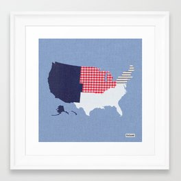 USA Regions Fabric Map Art Framed Art Print