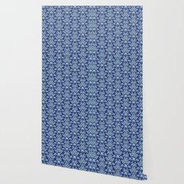Custom Retro Blue Floral Pattern Wallpaper