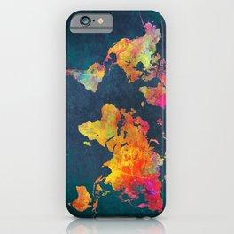 World Map blue #world #map iPhone Case