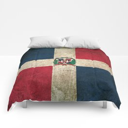 Old and Worn Distressed Vintage Flag of Dominican Republic Comforters