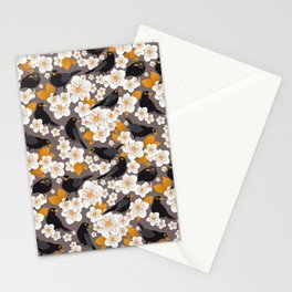 Waiting for the cherries II // Blackbirds brown background Stationery Cards
