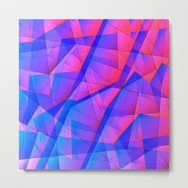 Bright contrasting fragments of crystals on irregularly shaped blue and pink triangles. Metal Print