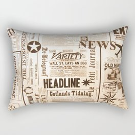 Vintage Newspaper Ads Black and White Typography Rectangular Pillow