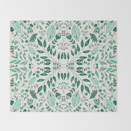 Floral Mix – Teal Throw Blanket