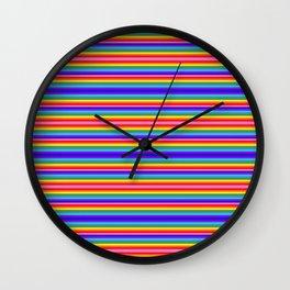 Tiny stripes of rainbow colors Wall Clock