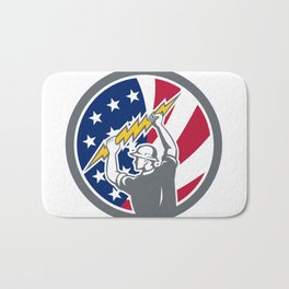 American Electrician USA Flag Icon Bath Mat