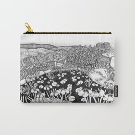 Zentangle Vermont Landscape Black and White Illustration Carry-All Pouch