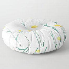 white daisy watercolor horizontal Floor Pillow