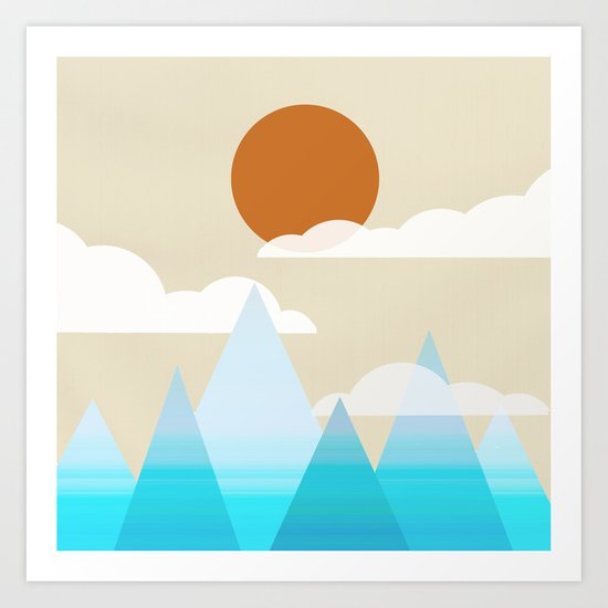 Sun, Clouds and Mountains Art Print