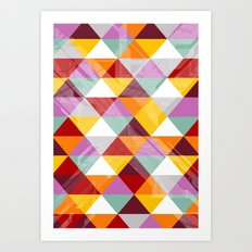 Triagles warm Art Print