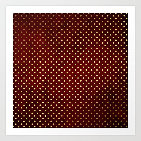 Adorable design for girls- Small gold dots on red backround Art Print