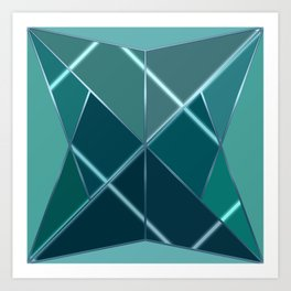 Mosaic tiled glass with black rays Art Print
