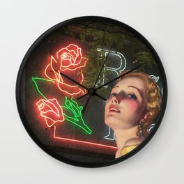 Red Neon Rose Wall Clock