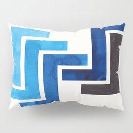Prussian Blue Pattern Mid-century Modern Simple Geometric Pattern Watercolor Minimalist Art Squares Pillow Sham