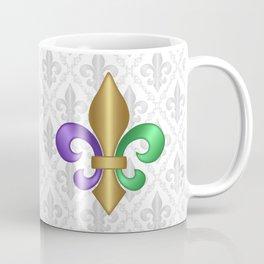 Purple Green and Gold Fleur-de-Lis on Gray Pattern Coffee Mug
