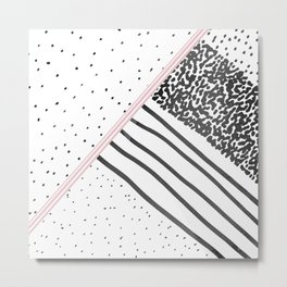 Trendy black white pink stripes dots pattern Metal Print